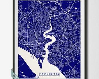 Southampton Print, England Poster, Southampton Poster, Southampton Map, England Print, England Map, Street Map, Independence Day
