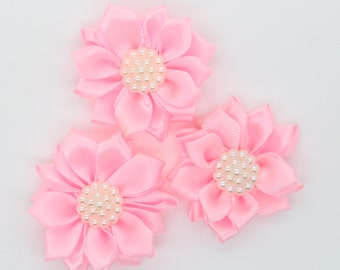 3 Light Pink Satin Ribbon Flowers with Pearl Center, Mini Ribbon Flowers, Layer Flowers.