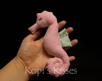 Seahorse softie (small) - pink and green