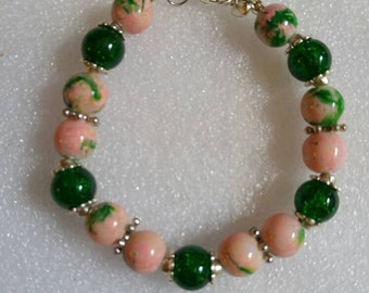 Pink and Green Floral Beaded Bracelet
