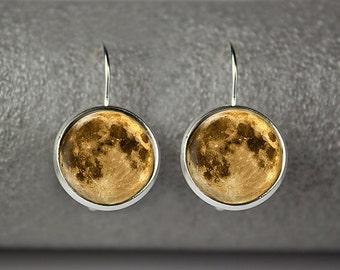 Moon earrings, Fullmoon earrings, Moon jewelry