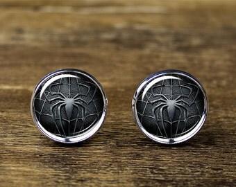 Spiderman cufflinks, Spiderman jewelry, Spiderman accessories
