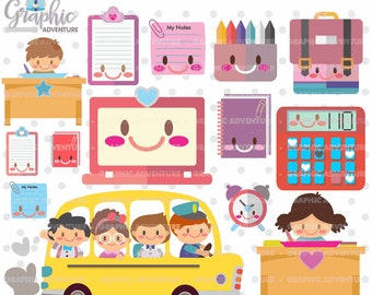 75%OFF - School Clipart, School Graphics, COMMERCIAL USE, Kawaii Clipart, Study, Back to School Clipart, Planner Accessories