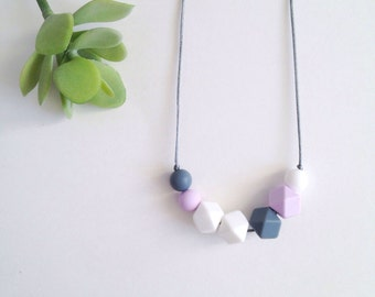 Zoey Silicone Nursing Necklace, Silicone Teething Necklace, Breastfeeding Necklace, Chewelry - Lilac, Grey, and White
