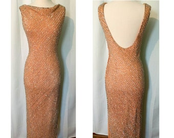60s Hand Beaded Evening Gown in Peach! Gorgeous glass beads!