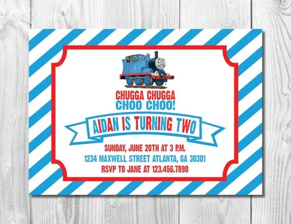 Thomas the Train Birthday Party Invitation >> Thomas Birthday Invite  << Choo Choo << Blue and Red Train >> Custom Printable Digital File