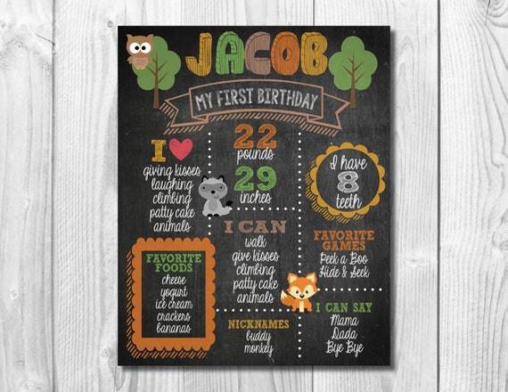 First Birthday Chalkboard Sign >> Woodland Birthday Party Theme << 1st Birthday Poster >> Personalized/Custom Printable Digital File