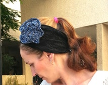 Elegant headband with a blue flower, Handmade, Black lace with a black and white pattern strips,Cotton,Bandana, Head cover, Ribbon, Turban,