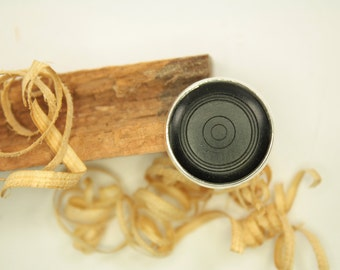 wooden ring / adjustable / fingerring is made of ebony / ring is made of natural wood and silver plated bronze