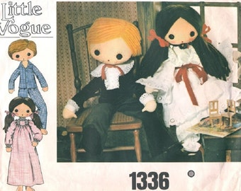 "Vintage Little Vogue 1336 Boy and Girl Doll and Clothing Pattern (Sz 32"")"
