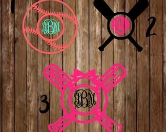 Baseball Monogram Decal-Softball Monogram Decal-Baseball-Softball-Sports-Decal-Custom Monogram-Sports Monogram-Baseball Monogram