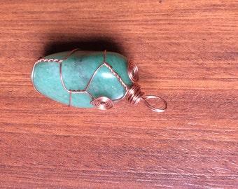 Copper Wire Wrapped Green Aventurine