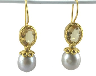 Natural Pearl Citrine Crystal Gold-Plated Silver Earrings