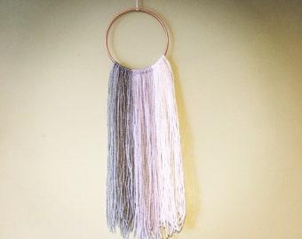 Ombré yarn copper hoop wall hanging