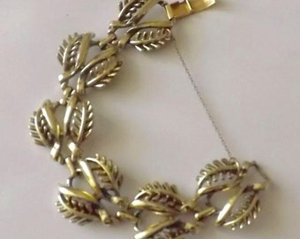 Vintage Jewelcraft Bracelet, Vintage Bracelet, Jewelcraft Bracelet, Leaf Bracelet, Signed Jewelcraft, Bracelet, Vintage Jewelry, Vintage Jew