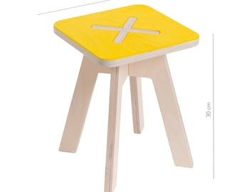 Small square chair, yellow