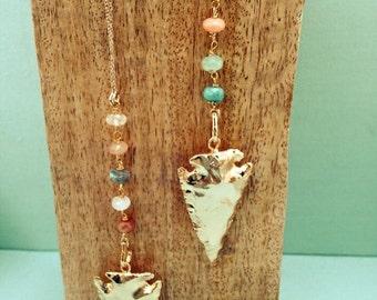 "Necklace ""Dakota"" plated gold and semi-precious stones"
