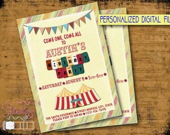 Circus Birthday Invitation, PRINTABLE Circus Invitation, Birthday Circus Invitation, Carnival Circus Invitation, Carnival Birthday Invite