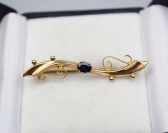 Edwardian 9ct gold & Sapphire Set Ornate Bar Brooch