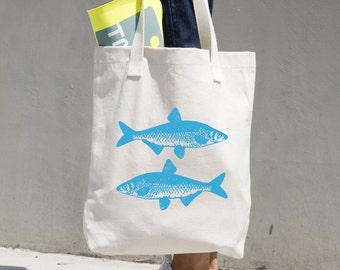 Fish Tote Bag - Farmer's Market Bag - Market Tote - Reusable Bag - Reusable Shopping Bag - Grocery Bag - Bull Denim Tote - Sturdy Tote
