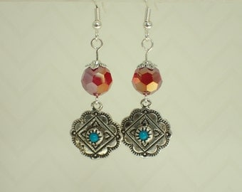 Red Faceted Dangle Beaded Earrings with Antique Silver Flower Charms