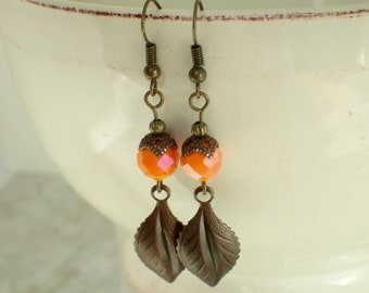 Orange Faceted Beaded and Brass Earrings