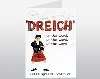 Dreich is the Word Scottish Greetings Card WWGR20
