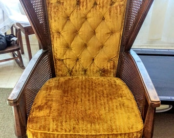 CUSTOM -- Lewittes, Vintage, Cane, Wing Back Chair