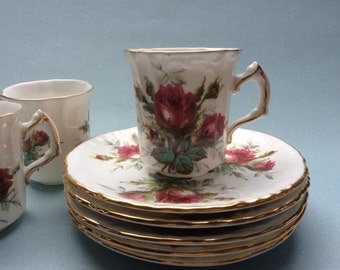 "Hammersley demitasse tea cup vintage floral teacup Hammersley ""Grandmother's Rose"", Red Roses, decor cups and saucers"