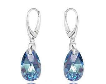 Earrings Swarovski sterling silver swarovski crystal  wedding earrings Crystal earrings  Aquamarine