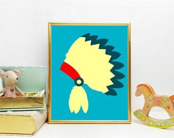 Printable Art, Wall Art, 8x10 Print, Nursery Decor, Indian Headress, Printable Nursery Art