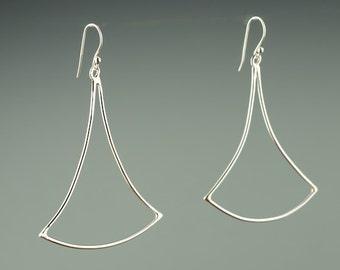 Geometric Dangle Earring, Sterling Silver, Bell, Earrings, Bridesmaid, Modern Dangle Earring, Hammered,Long Earring, Handmade, Jewellery