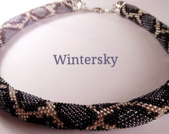 bead crochet rope seed bead necklace beaded necklace жгут лариат  lariat  Grey Phyton