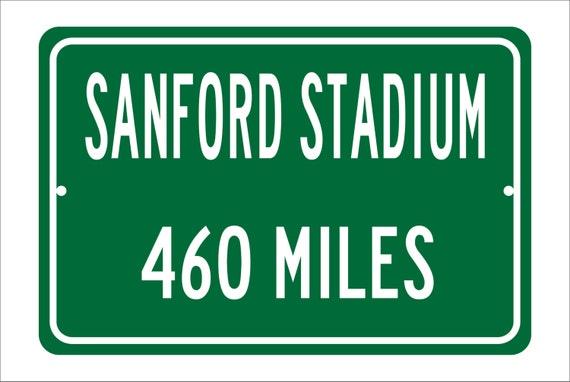 Custom College Highway Distance Sign to Sanford Stadium | Home of the Georgia Bulldogs | Personalized Bulldog Football | U of Georgia
