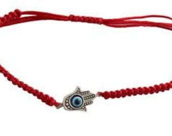 Adjustable red bracelet, Hamsa