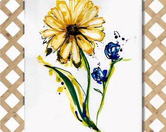 Delicate Wild Flowers Original Hand-painted Watercolor 9x12