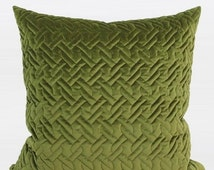 """Luxury Green Braid Textured Quilting Pillow Cover 24""""X24"""""""