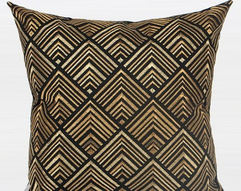 "Luxury Black And Gold Geometry Pattern Embroidered Pillow 20""X20"""