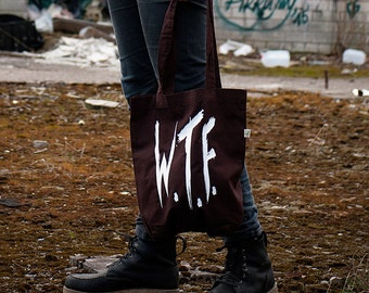 Where is the Food?  - W.T.F Tote bag - brown cotton canvas bag