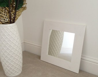 White flat wood frame mirror 250 x 250