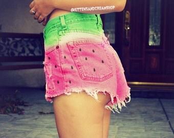 Watermelon High Waisted Shorts
