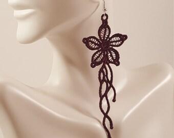 Wine lace earring Deep Purple lace earrings Embroidered earrings Statement earrings Lace jewelry  Drop earrings Dangle earrings