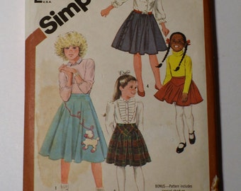 Simplicity Child's Skirt Pattern #6131, Poodle Skirt and Twirl Skirt