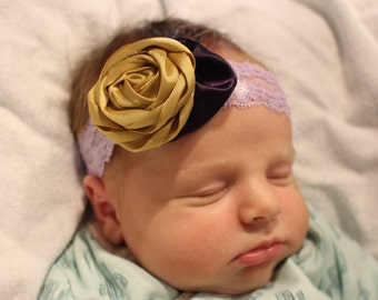 Infant Lace Purple Gold Headband