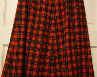 Vintage Red Tartan Wool Skirt