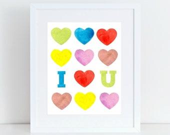 I love you print, I heart you print, nursery decor, nursery print, nursery wall art, watercolor wall print, watercolor print