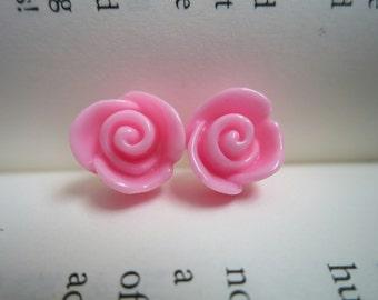 Dainty Pink Rose Stud Earrings