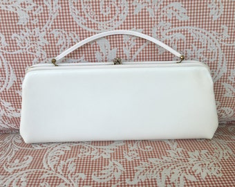 Vintage Harry Levine White Clutch, Wedding Clutch, Prom Purse, Bridesmaid Clutch