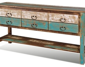 Aqua sideboard with drawers