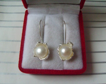 925 solid sterling silver earrings with cultured pearls